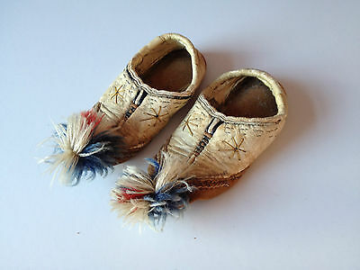 Genuine Rare Antique Native American baby/Child Leather Moccasin Shoes