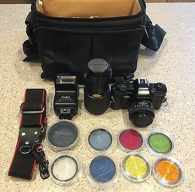 Minolta X-370N 35mm 2 Lens Camera Bundle w/Filters & Bag