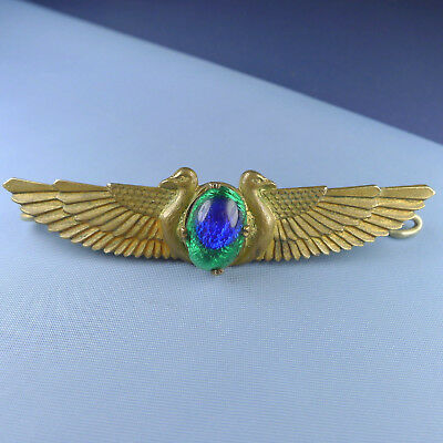 Egyptian Revival Brooch / Antique Art Deco Winged Pin