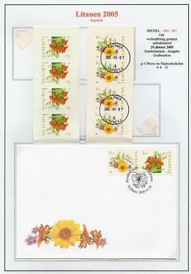 LITHUANIA 2005 MNH/USED-CTO/FDC SG852-53 Greeting Stamps-Flowers