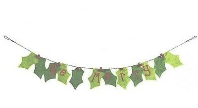 "Pier  1 imports ""Be Merry"" Christmas Fabric Pennant Banner New"