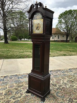 Exceptional Original Condition Carved Mahogany Chippendale Grandfather Clock