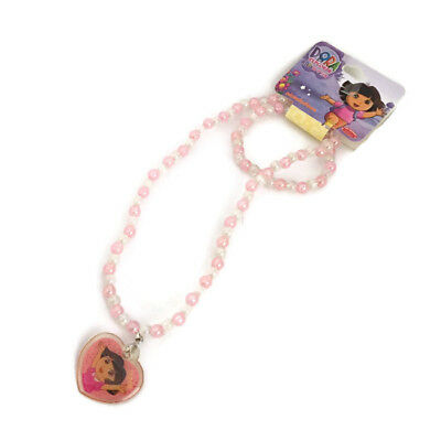 Dora Necklace Handmade Heart Charm Pendant Cut Pink Pendant Girl Pink Ball Chain