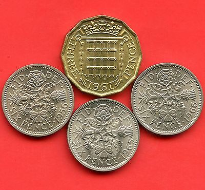 Great Britain 1956 1965 1966 6 Pence & 1967 3 Pence Coins