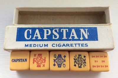 CAPSTAN CIGARETTES VINTAGE 1930s BAKELITE ADVERTISING BOXED POKER DICE