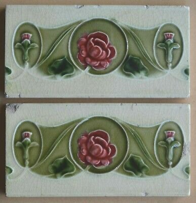 ALFRED MEAKIN ANTIQUE ART NOUVEAU MAJOLICA 2 BORDER TILES C1900