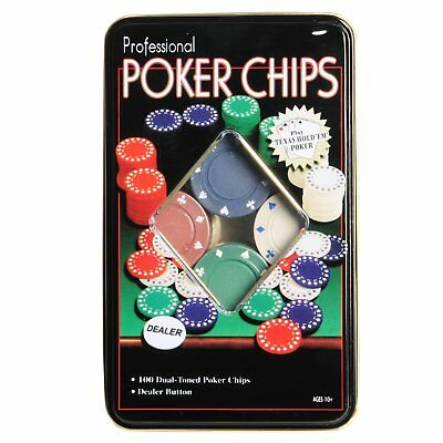100 Professional Poker Chips Set And Dealer Button,texas Hold'em