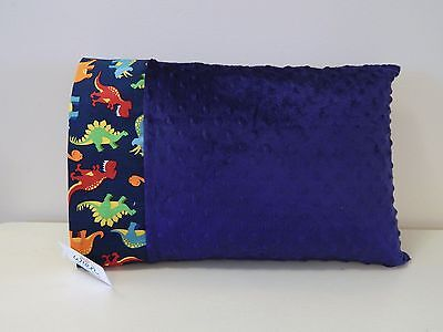 NWT Dinosaur Blue Minky Dot Toddler Pillowcase 12x16 Airplane Car Travel Dino