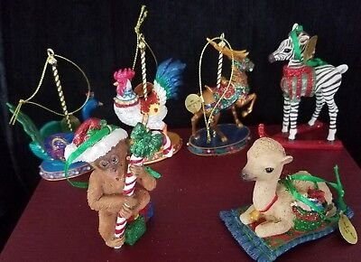 Lot of 6 DANBURY MINT Ornaments in Box; CAROUSEL COLLECTION & BABY ANIMAL
