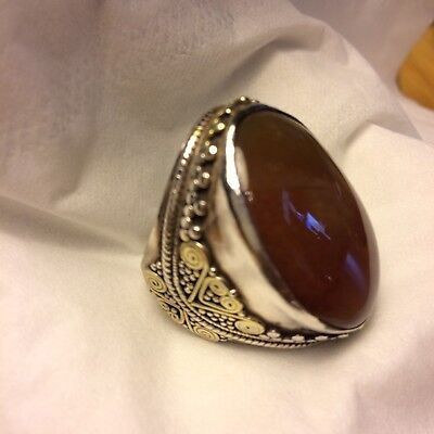 Men's Silver Carnelian Ring with Gold Overlay