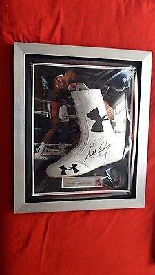 Anthony Joshua hand signed white boxing boot with signing proof