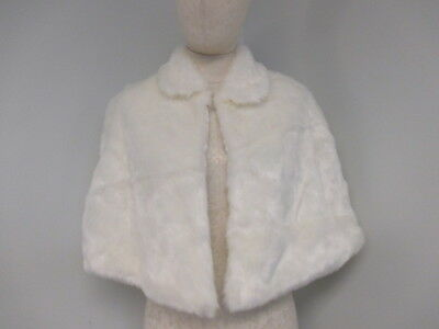 NWT David's Bridal Ivory Faux Fur Lined Capelet Shawl Wrap One Size Miss (10-39)