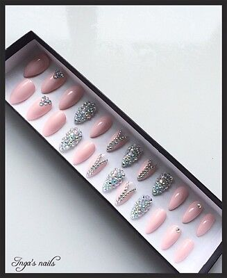 Hand painted pink with crystals stiletto false nails