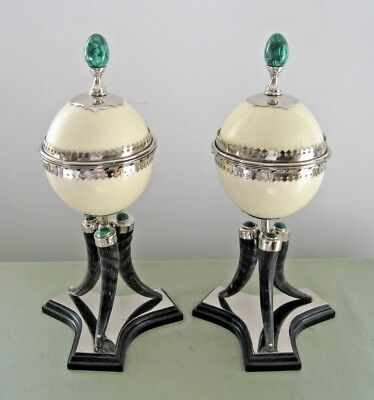 WOW !! 1970's ANTHONY REDMILE Pair signed boxes (Ostrich egg, malachite, horn)