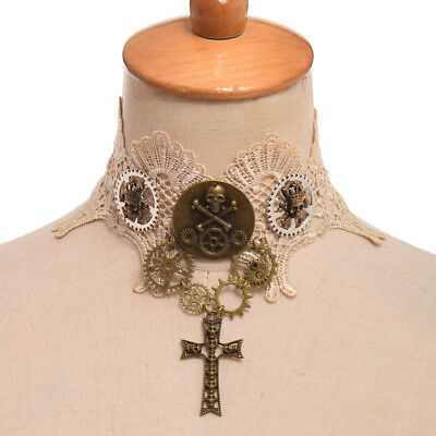 Vintage Victorian Beige Lace Choker Steampunk Gear Skull Clavicle Chain Necklace