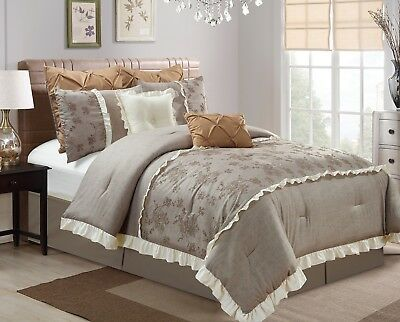 Chezmoi Collection 8pc Embroidered Rose Faux Linen Comforter Set King, Taupe