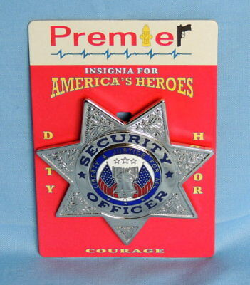 Police Security Officer Silver Badge-7 Point Star - (Premier)