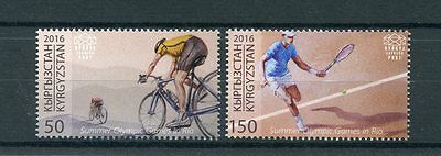 Kyrgyzstan KEP 2016 MNH Olympic Summer Games Rio 2v Set Tennis Olympics Stamps