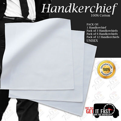 New White Handkerchief Soft Washable Unisex Handkerchiefs 100% Cotton UK SELLER