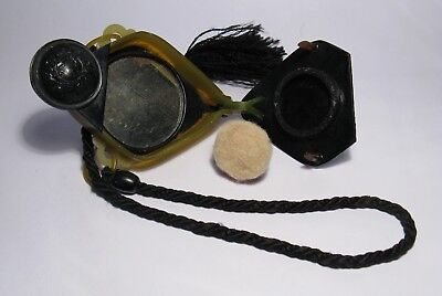 Art Deco 1920's 2-Tone Celluloid Dance Vanity/Compact Flip Purse w/Mirror & Puff