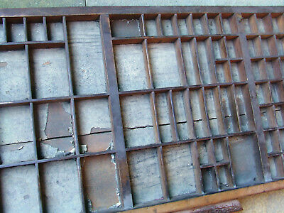 Letterpress Printing VERY OLD WOODEN TYPECASE with handle and bit split in back!