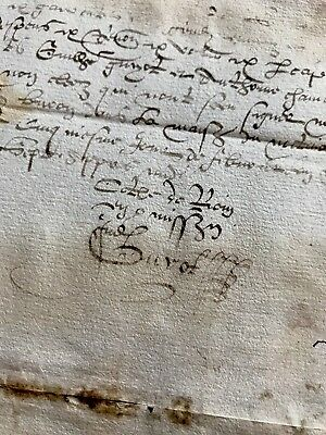 Old Manuscript Document of Year 1580
