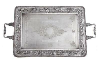 Anglo-Indian silver presentation tray Lot 1191