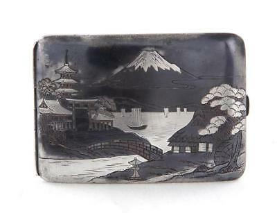 Japanese mixed-metal cigarette case, signed Lot 1204