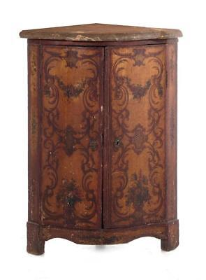 Continental painted and marbletop corner cabinet Lot 1139