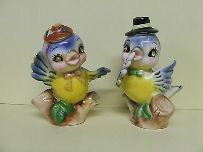 Vintage Norcrest(?) Anthropomorphic Mr.&Mrs. Blue Bird w/Hats Salt & Pepper