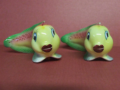 Vintage Colourful Eel-Like Fish w/Big Lips Salt & Pepper Shakers