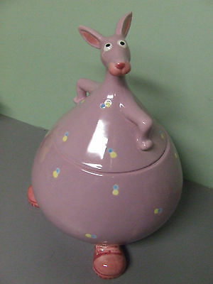 Vintage Fitz Floyd Polka Dotted Kangaroo Wearing Running Shoes Cookie Jar, Japan