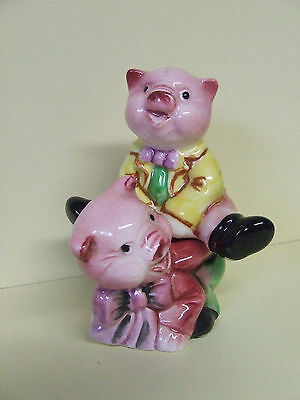 Vintage Anthropomorphic Piggy Back Pigs Stacker Salt & Pepper Shakers