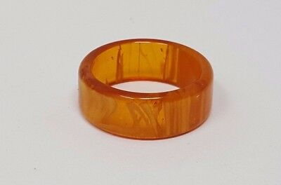 Vintage Yellow Amber Lucite Band ring size 7