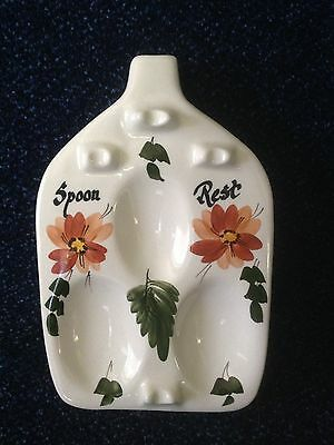 TONI RAYMOND - CERAMIC FLORAL SPOON REST - 1960s/1970s - LOVELY CONDITION