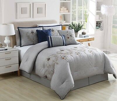 Chezmoi Collection 7pc Navy Gray Peony Floral Embroidered Comforter Set, Queen