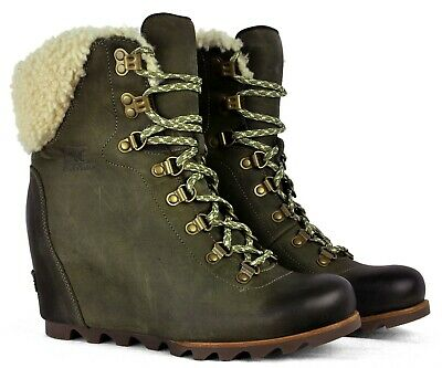 16b4080d96bb Sorel Womens Conquest Wedge Shearling Winter Boot 1759071 Nori Stone Size  9.5
