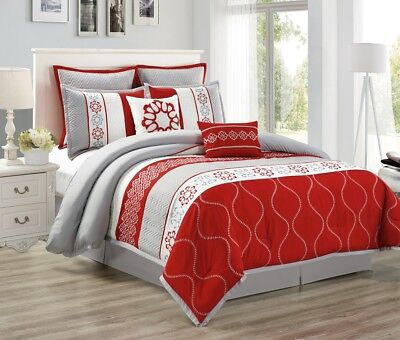 8-Piece Gray Red White Floral Embroidery Medallion Quilted Comforter Set, Queen