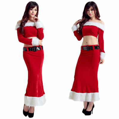 Christmas Costume Dress Women Off Shoulder Tops Thin Slim Red Dress with Belt