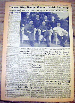 8 1945 Stars & Stripes newspapers POTSDAM CONFERENCE Truman Stalin WWII strategy