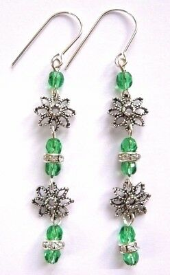 Green or Red Sterling Silver Czech Glass CRYSTAL Flower Long Hook Earrings + Box