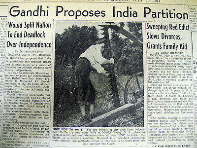 1944 newspaper GANDHI proposes PARTITION of INDIA into 2 nations- HINDU & MOSLEM