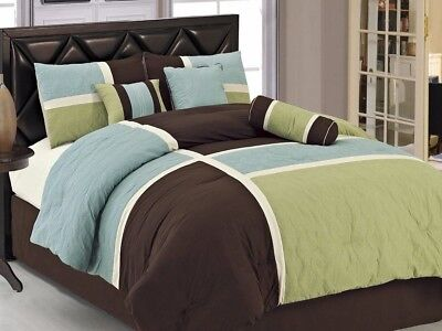 Chezmoi Collection 7pcs Brown Blue Green Quilted Patchwork Comforter Set King