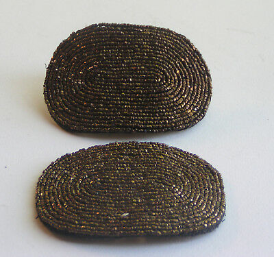 Vintage/antique Pair Of Beaded French Shoe Clips Buckles