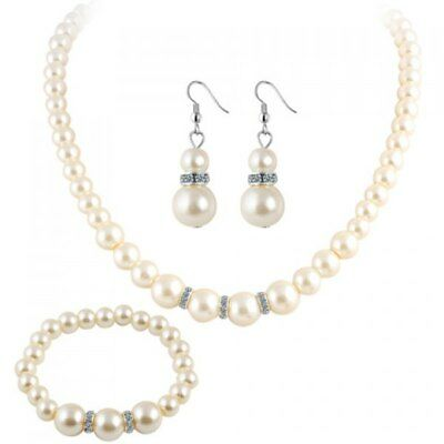 Pearl Necklace Bracelet and Earrings - White