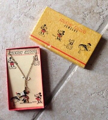 Mickey Mouse Necklace circa 1930's  Mint in Box