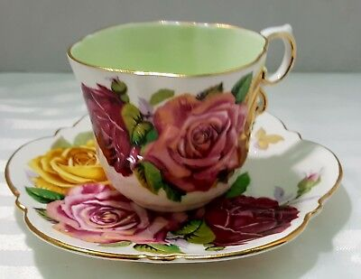 Aynsley Cup And Saucer With Big Cabbage Roses And A Green Interior