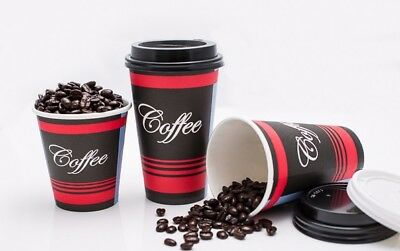 1000 Pack 10 Oz. Poly Paper Disposable Hot Tea Coffee Cups with Dome Black Lids