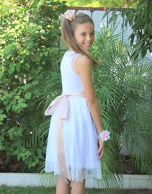 Floral Lace Overlay Cotton White Flower Girl Dress Pageant Baptism Birthday 169R
