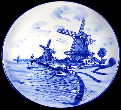 """Vintage Delft Netherlands Pottery Hand Painted Blue Windmills 10.25""""d Wall Plate"""